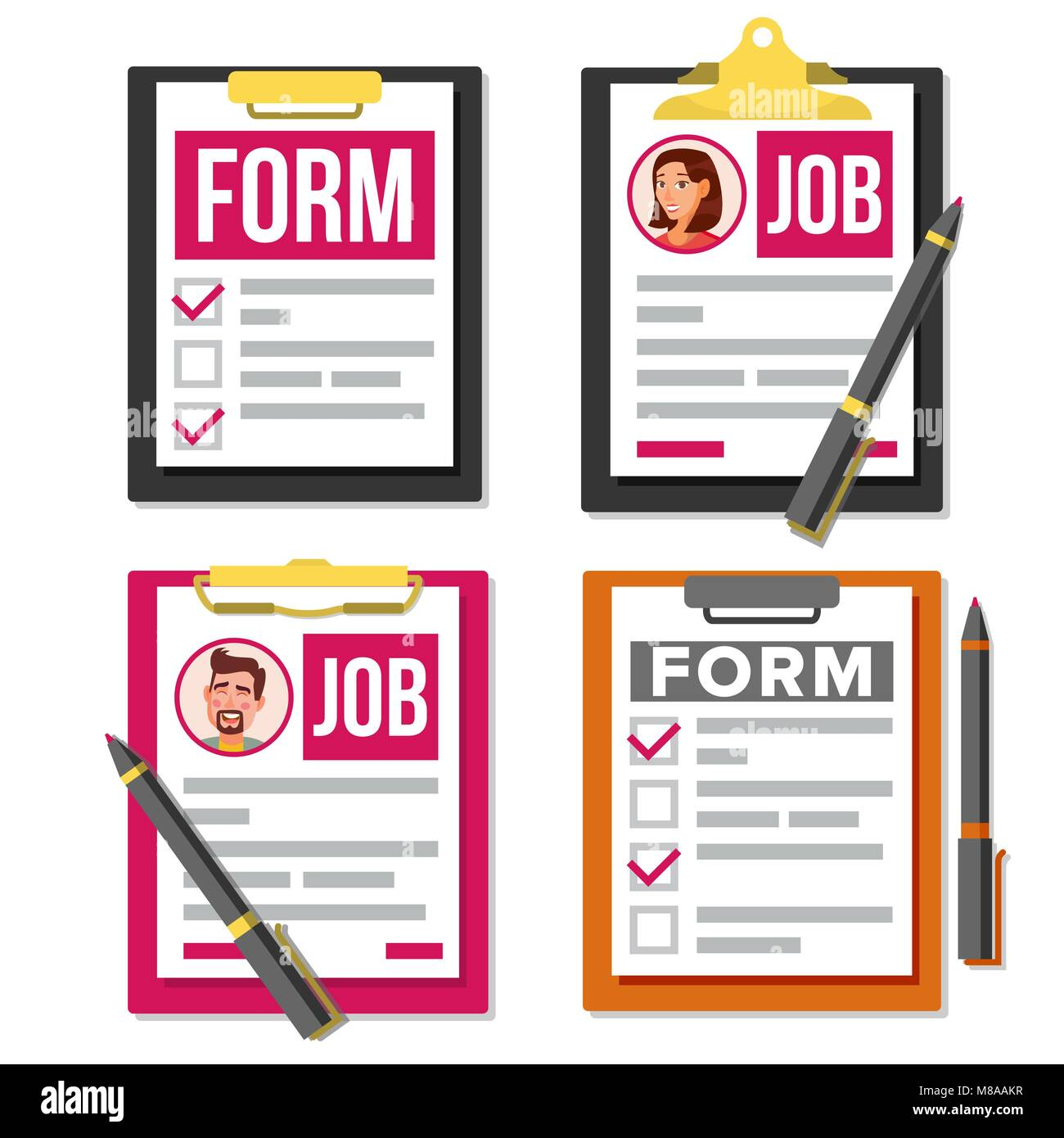 claim form set vector business document checklist complete tasks