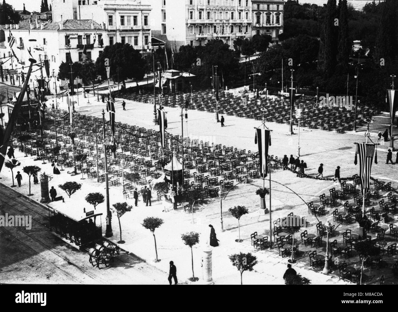 Ceremony during 1896 Olympics, Athens, Greece Stock Photo