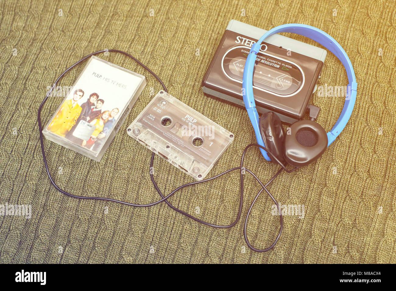 Vintage walkman, PULP cassete and headphones. - Stock Image
