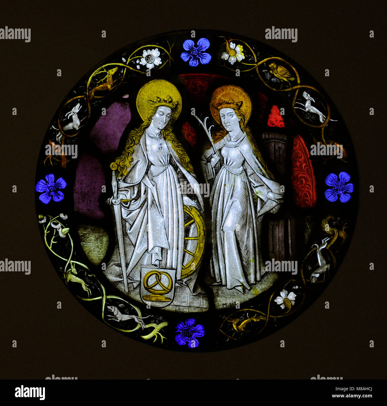 Saint Catherine and Saint Barbara. Cologne, late 15th century. Germany, Stained glass. Schnütgen Museum. Cologne, - Stock Image