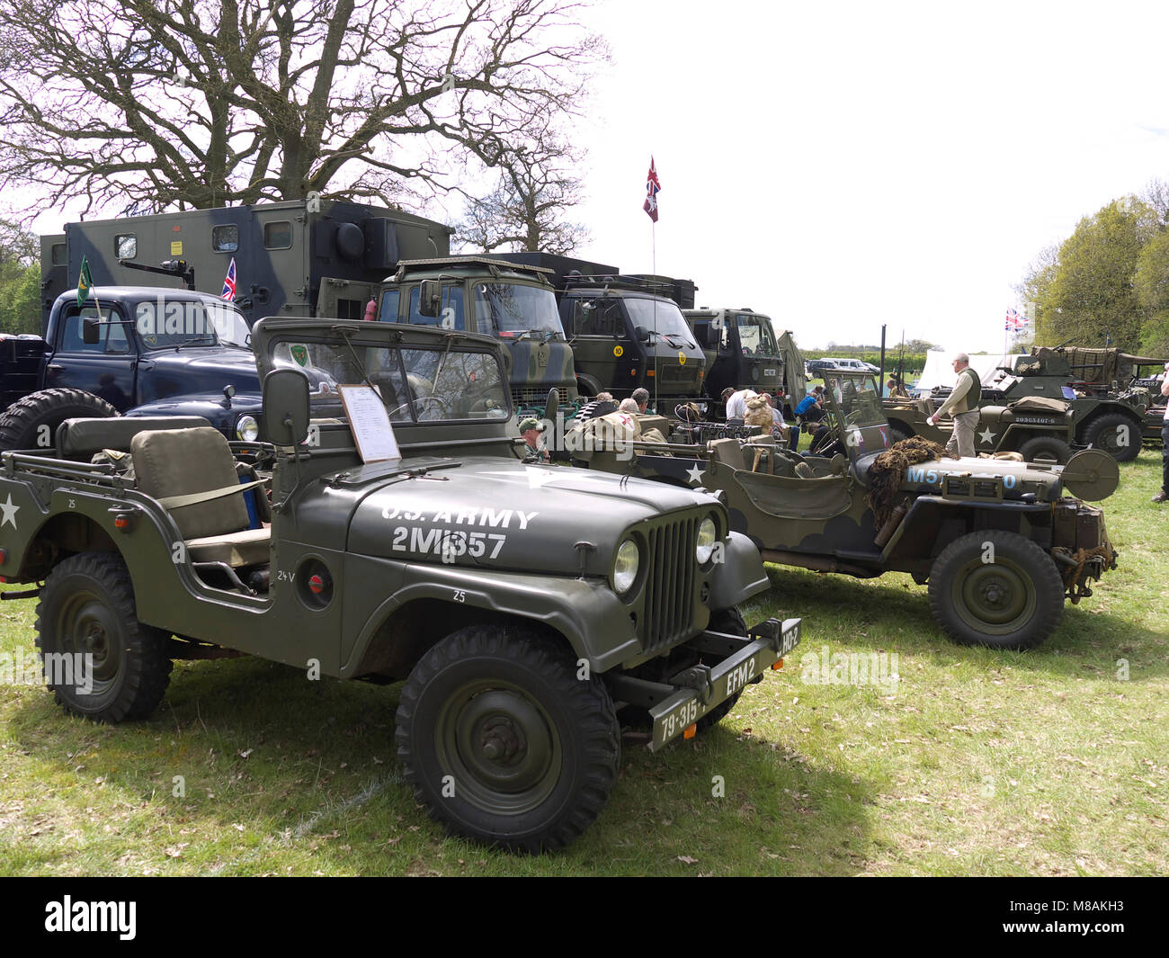 Vintage Military vehicles on display at Stradsett steam and vintage rally, Norfolk - Stock Image