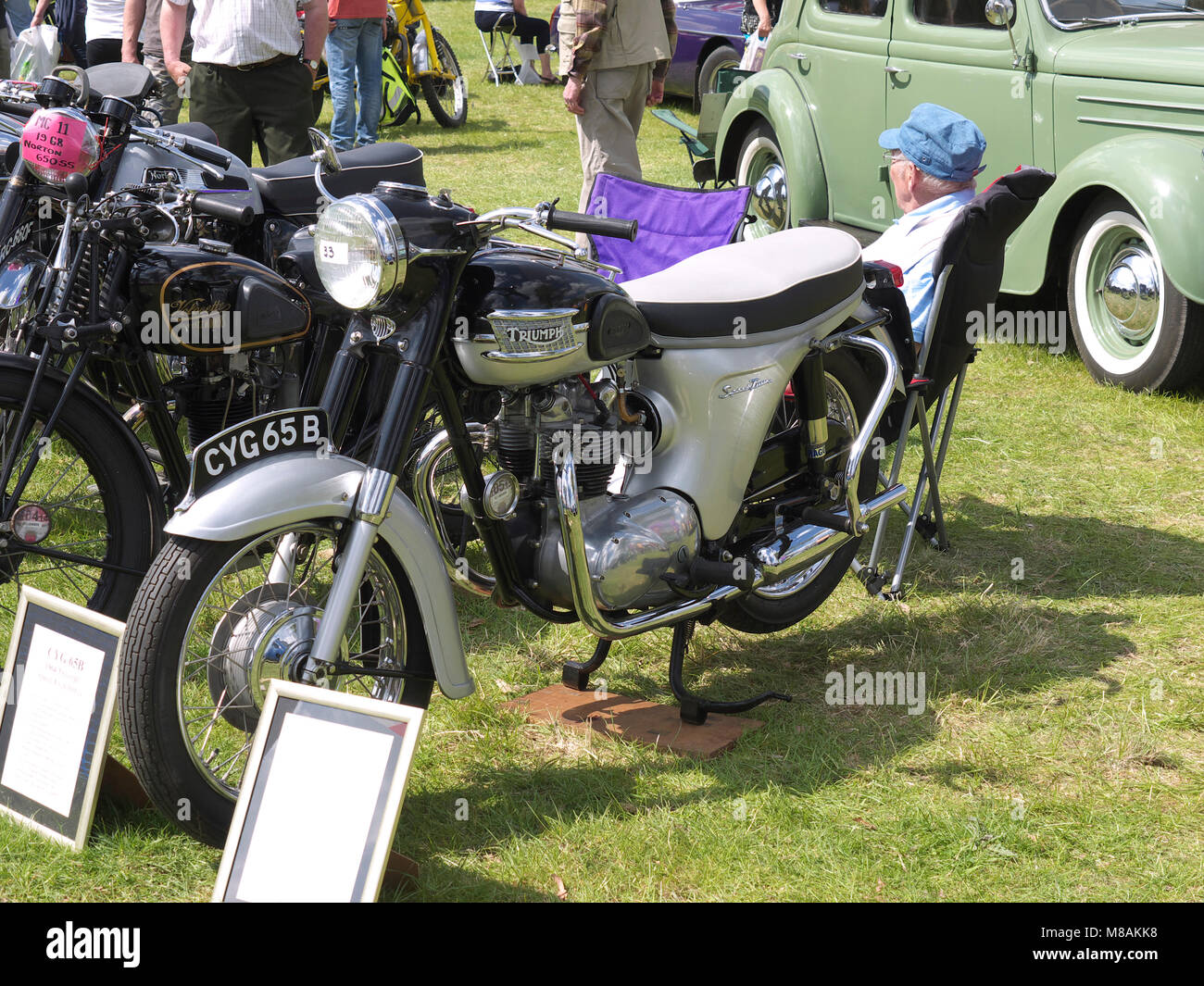 Classic Triumph motorbike at Stradsett rally, Norfolk - Stock Image