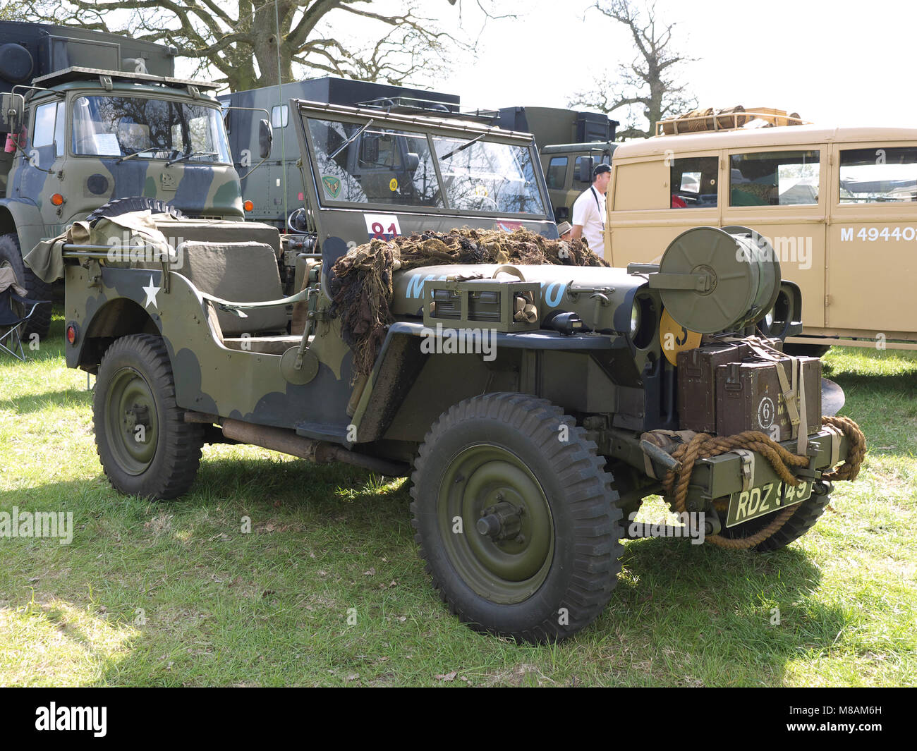 Classic jeep on display at Stradsett rally, Norfolk - Stock Image