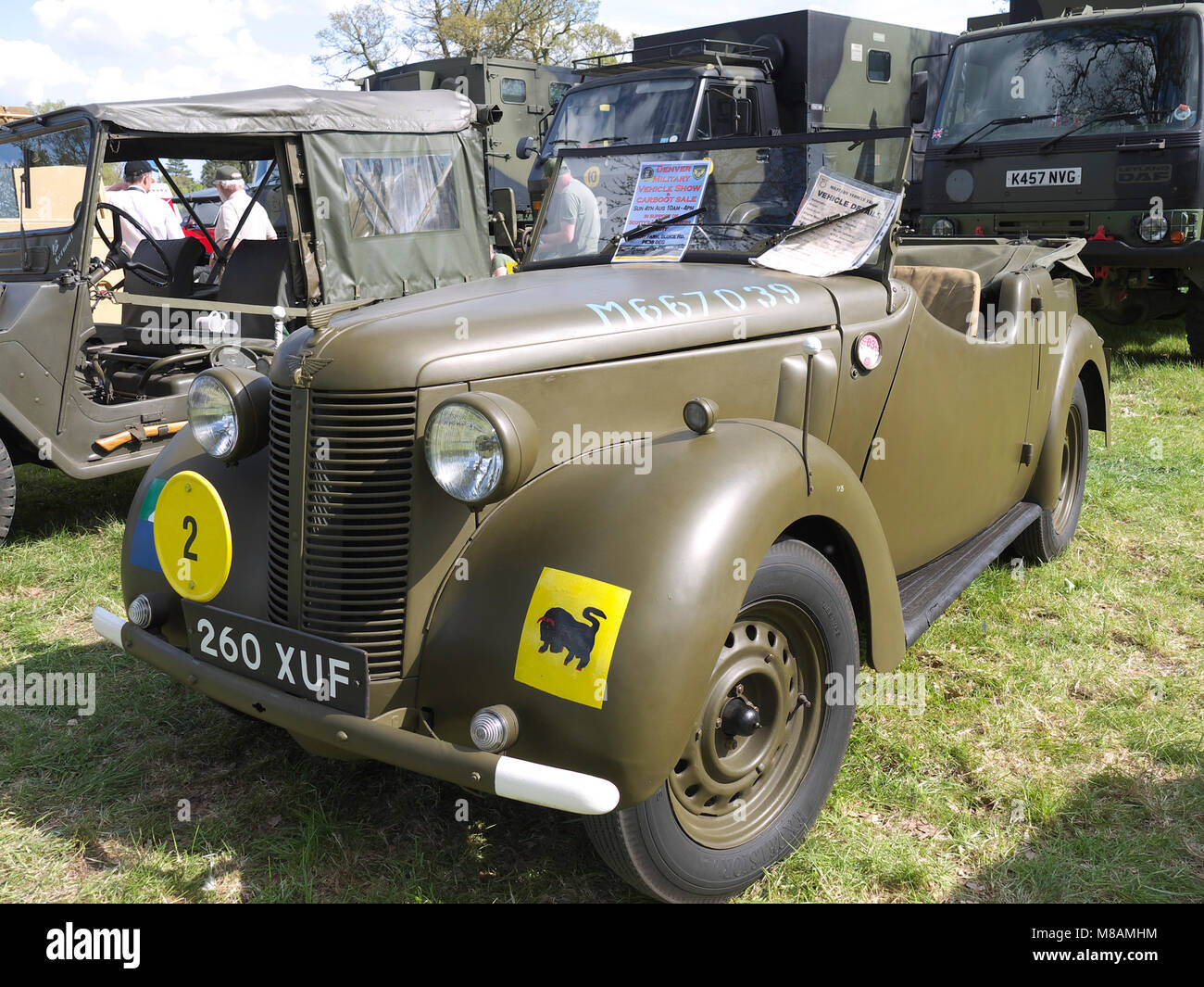 Vintage military staff car, Stradsett rally, Norfolk - Stock Image
