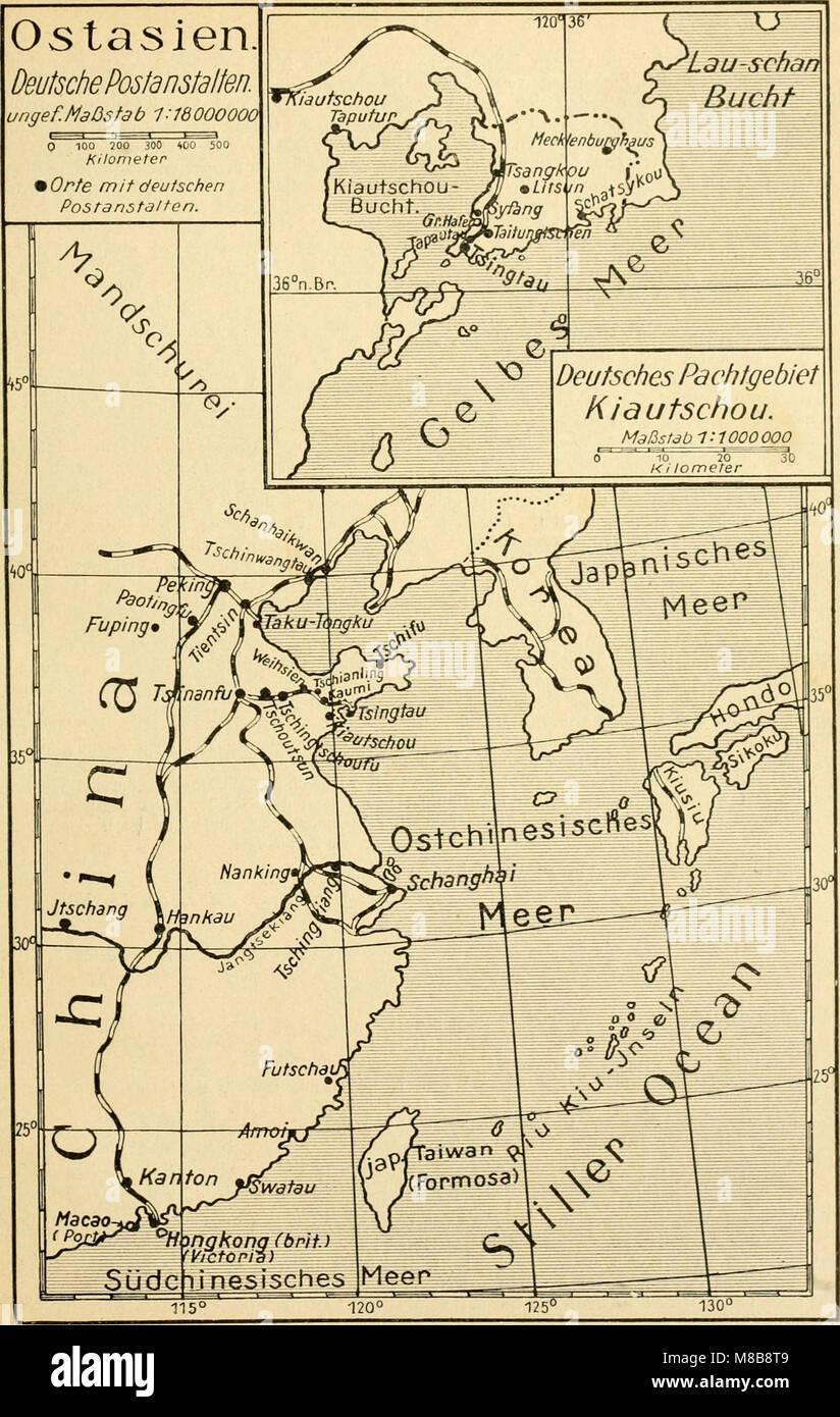 Die postwertzeichen und entwertungen der deutschen postanstalten in den schutzgebieten und im auslande (1921) (14744799346) Stock Photo