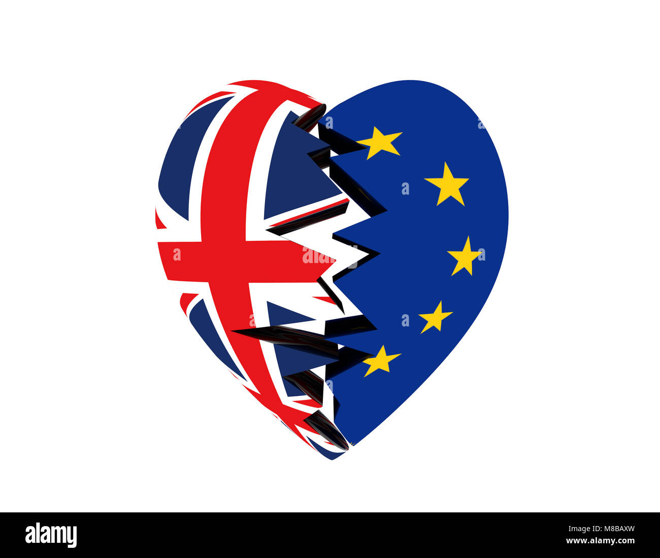 Out of EU, EU flag - Stock Image