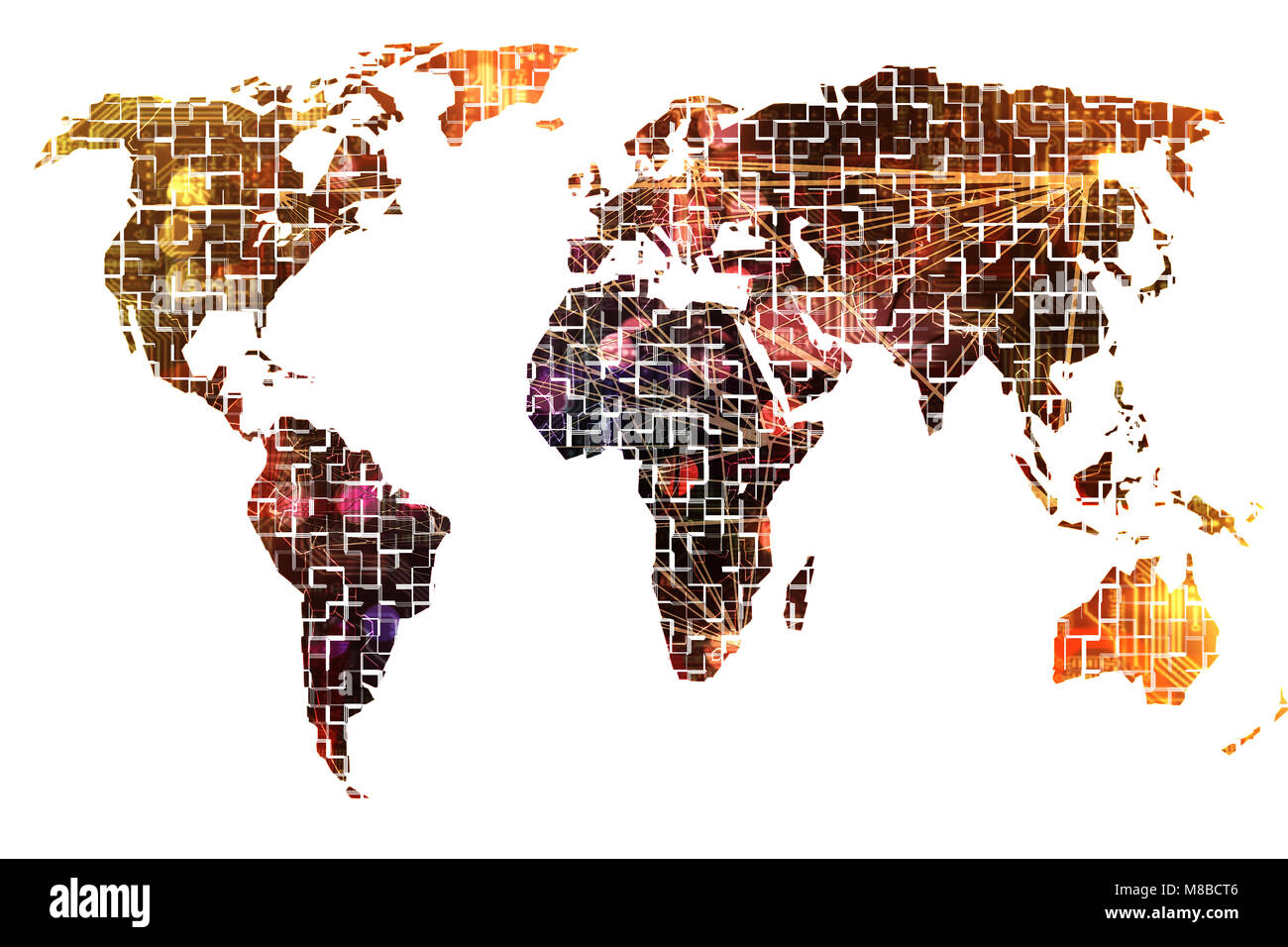 Digital world map with all continents - Stock Image