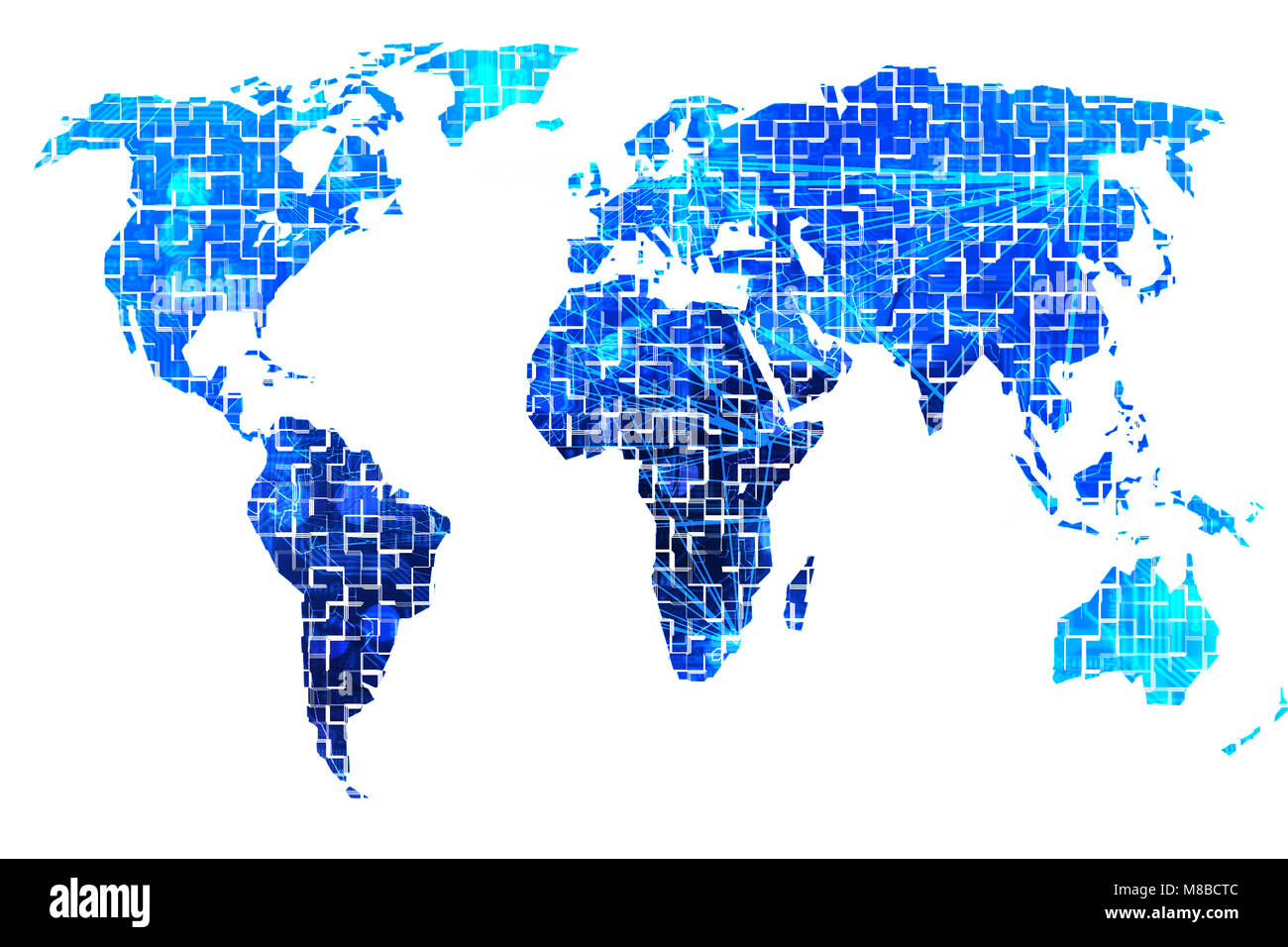 Digital World Map With All Continents Stock Photo 177272492 Alamy