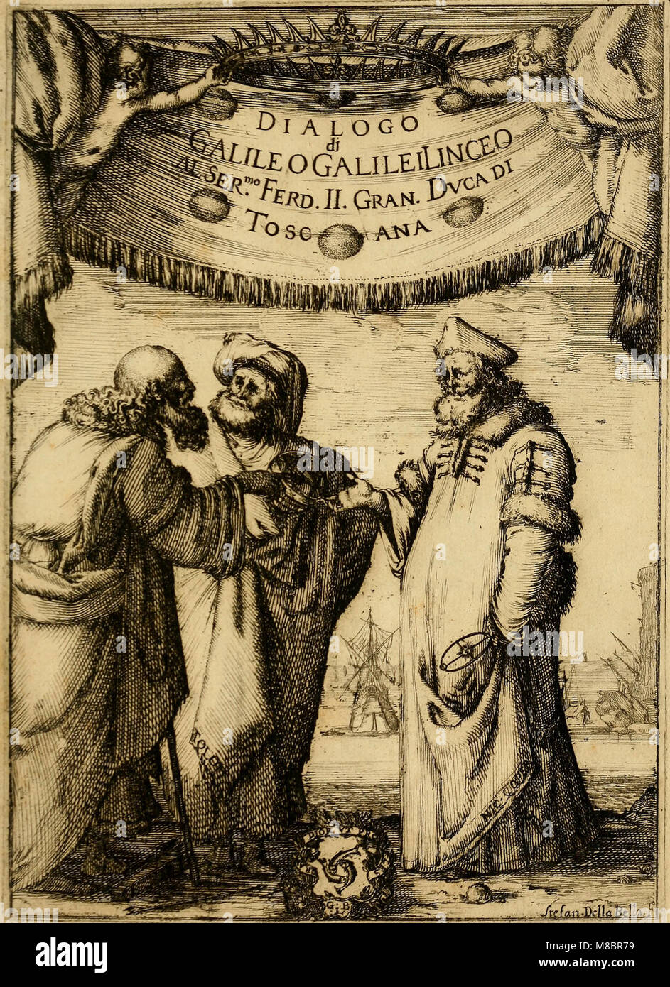 Dialogo di Galileo Galilei Linceo matematico sopraordinario dello studio di Pisa. E filosofo, e matematico primario - Stock Image