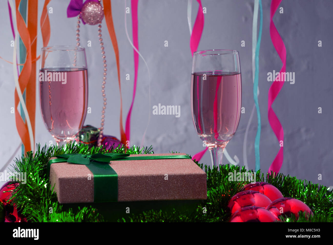 Champagne with redcurrant liqueur - Stock Image