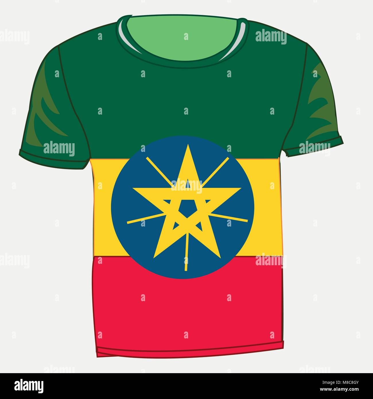 T-shirt with flag Ethiopia - Stock Vector