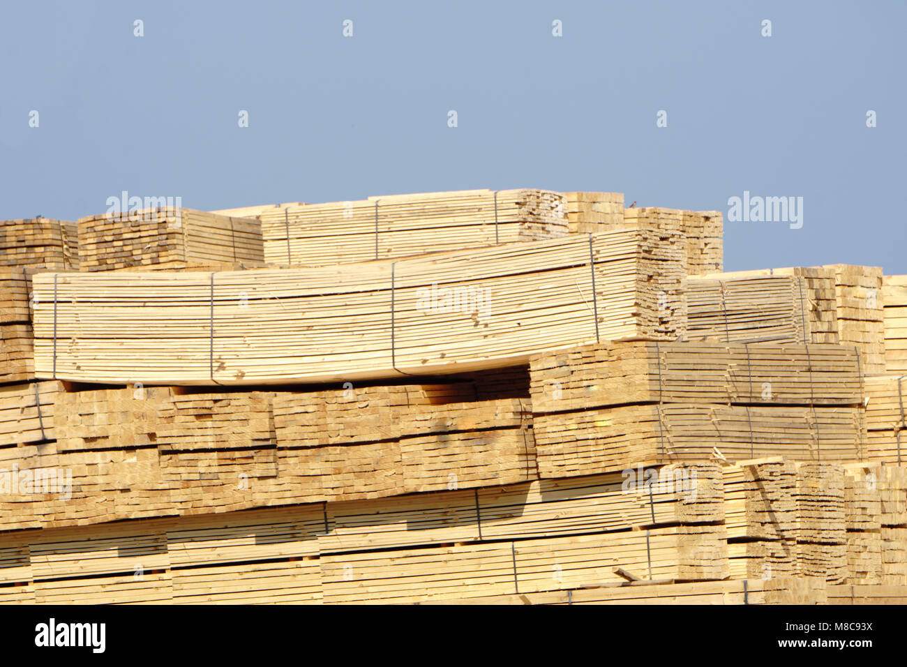 Timber is ready for shipping at a dock, Island, Stock Photo