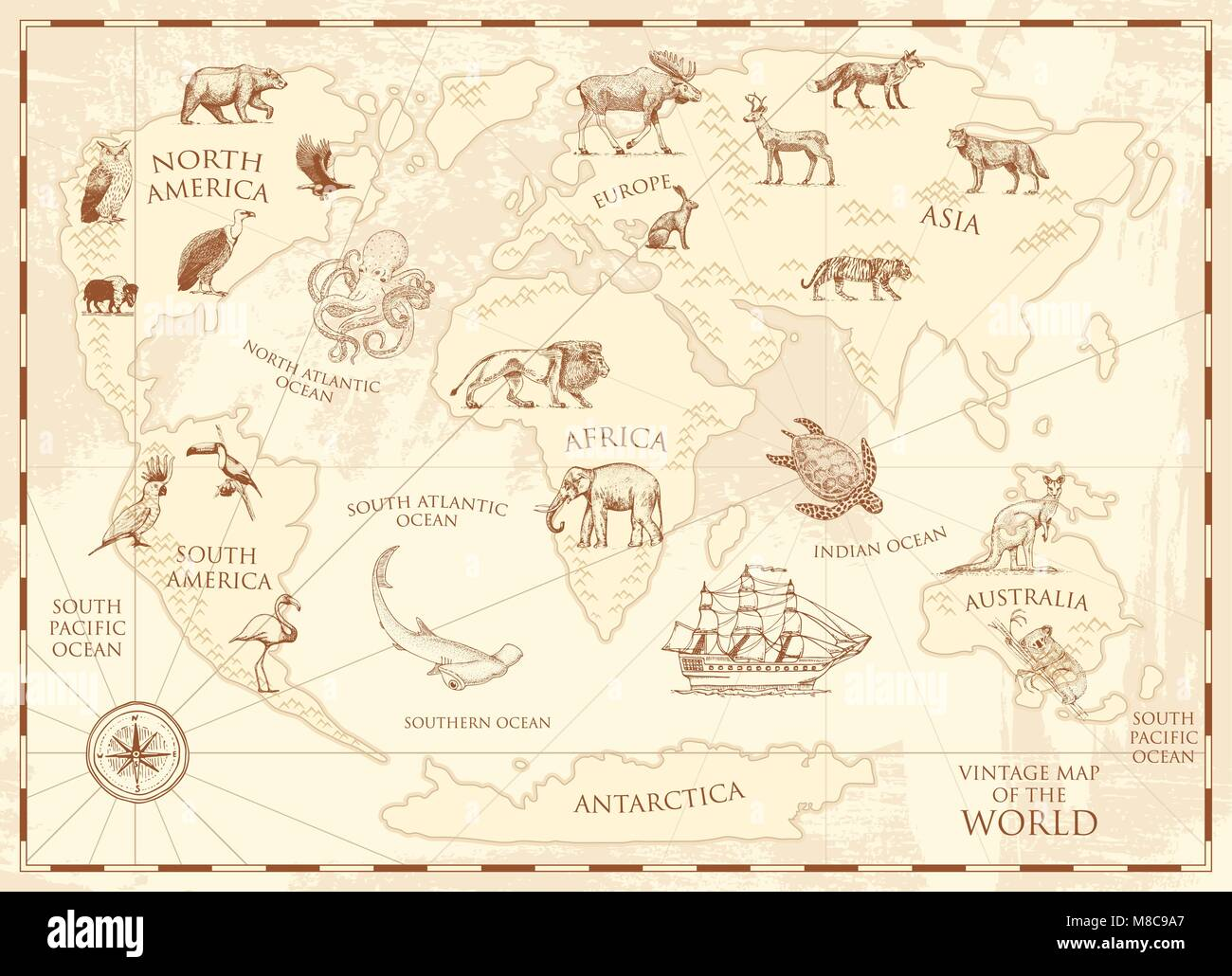 Vintage world map with wild animals and mountains. Sea creatures in the ocean. Old retro parchment. wildlife on - Stock Image