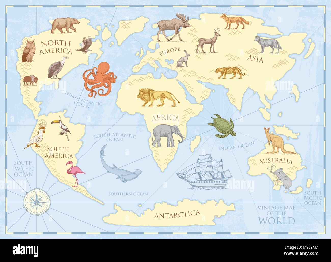 Vintage world map with wild animals and mountains sea creatures in vintage world map with wild animals and mountains sea creatures in the ocean old retro parchment wildlife on earth concept background or poster for gumiabroncs Image collections