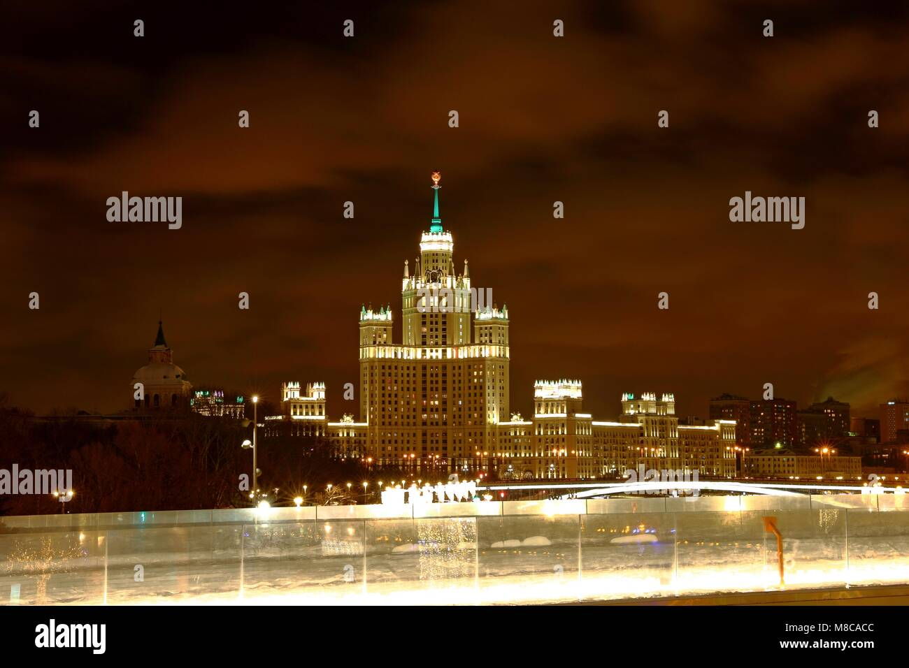 Kotelnicheskaya Embankment Building One of the Moscow Seven Sisters at night Stock Photo