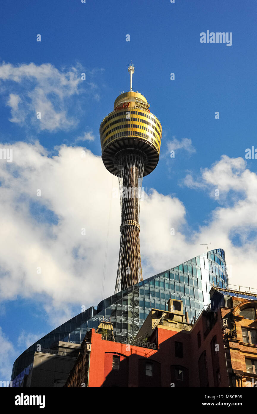View of the Sydney Tower, also known as Westfield Centrepoint or the Sydney Eye Tower. Situated in the CBD it is - Stock Image