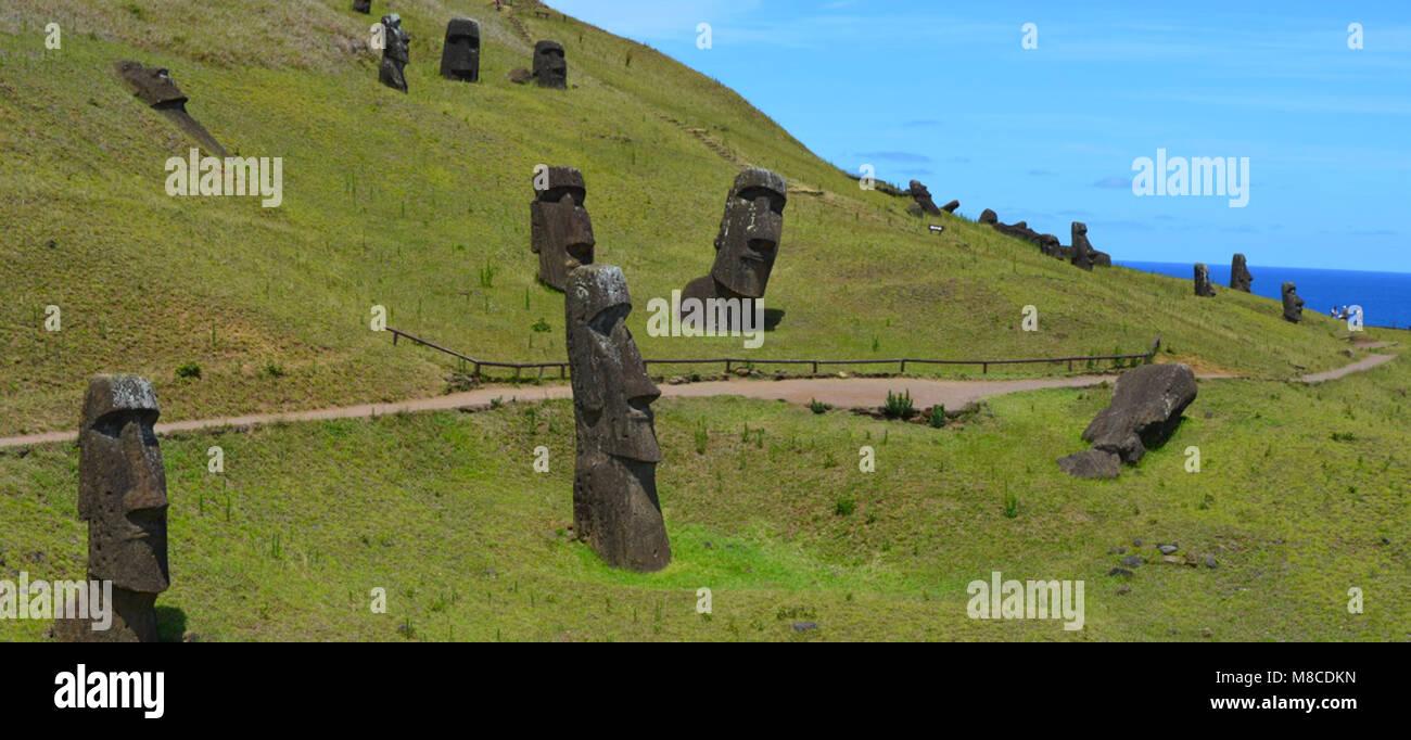 Moais in the slopes of Rano Raraku volcano, Rapa Nui (Easter Island) - Stock Image