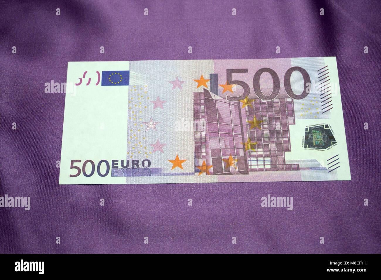 500 Euro notes background texture Stock Photo