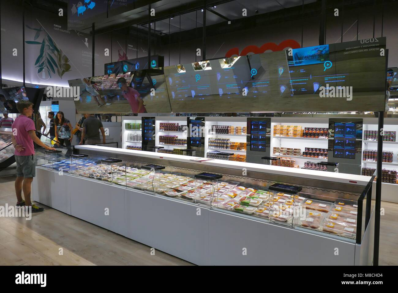 Future food district Unveiling the Supermarket of the Future at Expo Milano 2015 by Coop Italia the largest supermarket - Stock Image