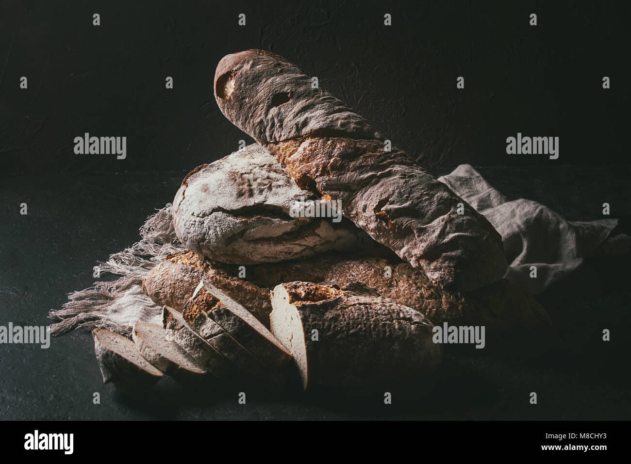 Variety of Artisan bread - Stock Image