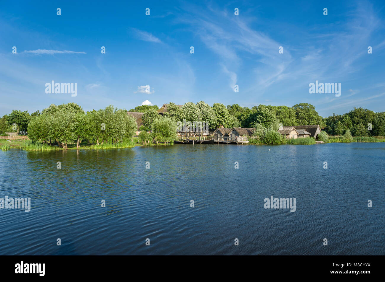 Wallmuseum slavic village wit the lake Wallsee, Oldenburg in Holstein, Baltic Sea, Schleswig-Holstein, Germany, - Stock Image
