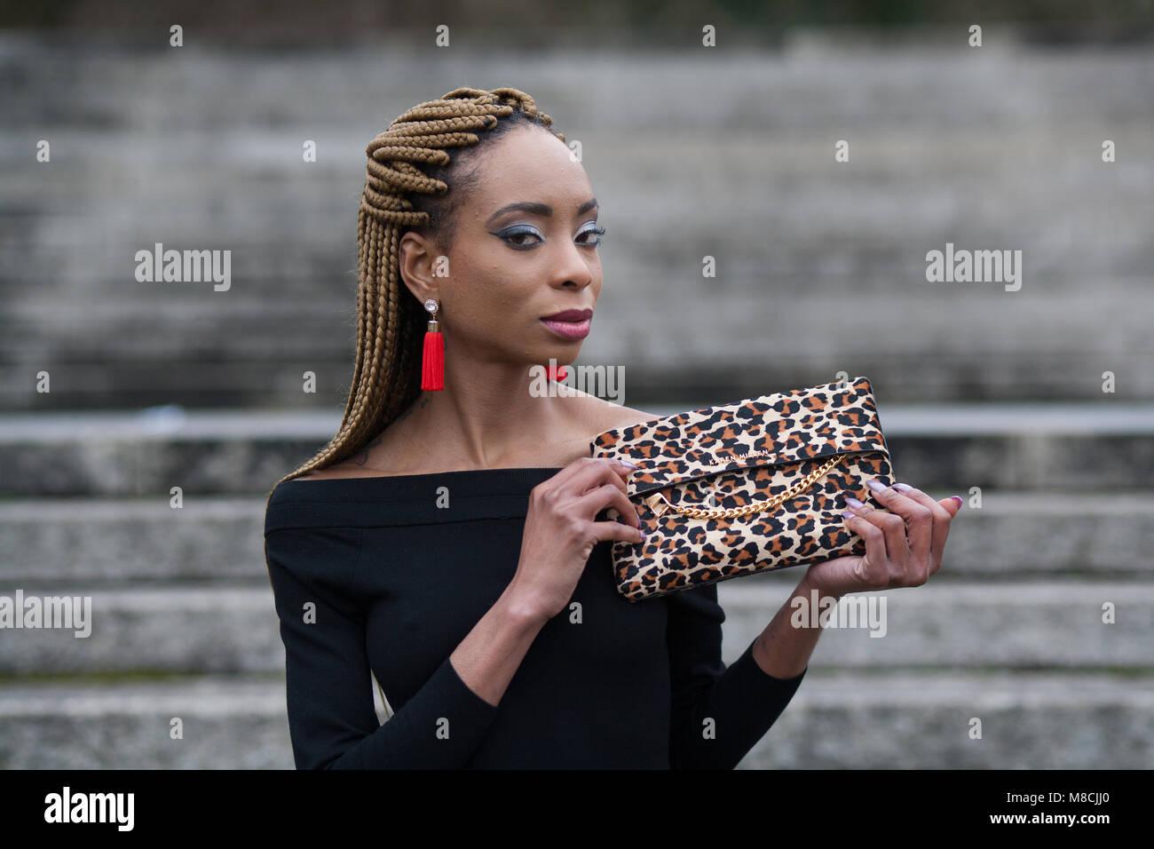 e11096e2e7 Woman Leopard Clothes Stock Photos   Woman Leopard Clothes Stock ...