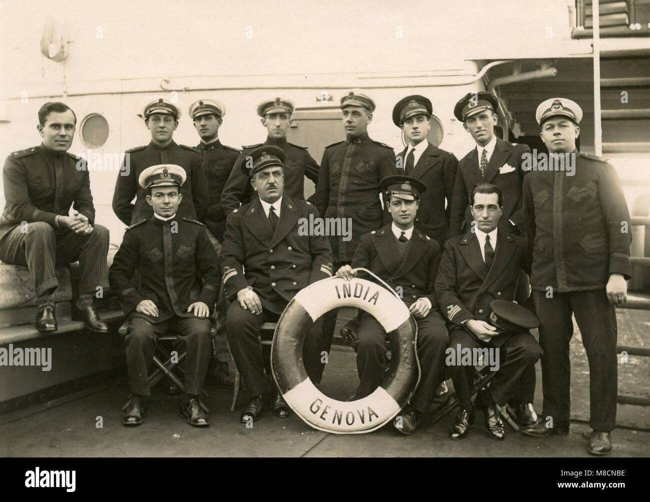 The commander and crew of the motorship India, Genova, Italy 1928 - Stock Image