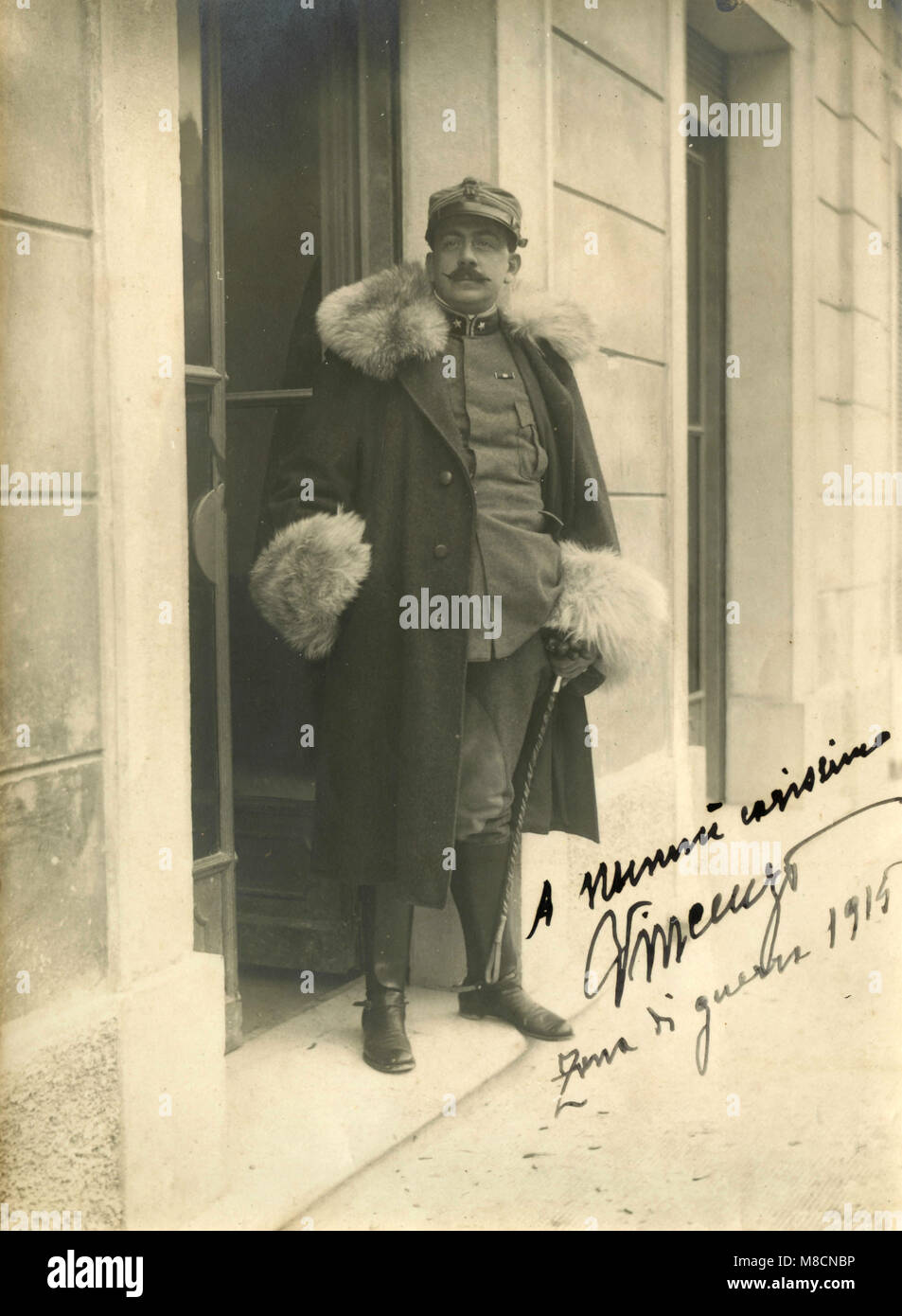 Italian Army officer with fur, 1915 - Stock Image