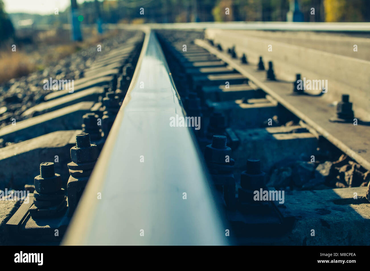 Rail of railway track. Close up. Easy toning - Stock Image