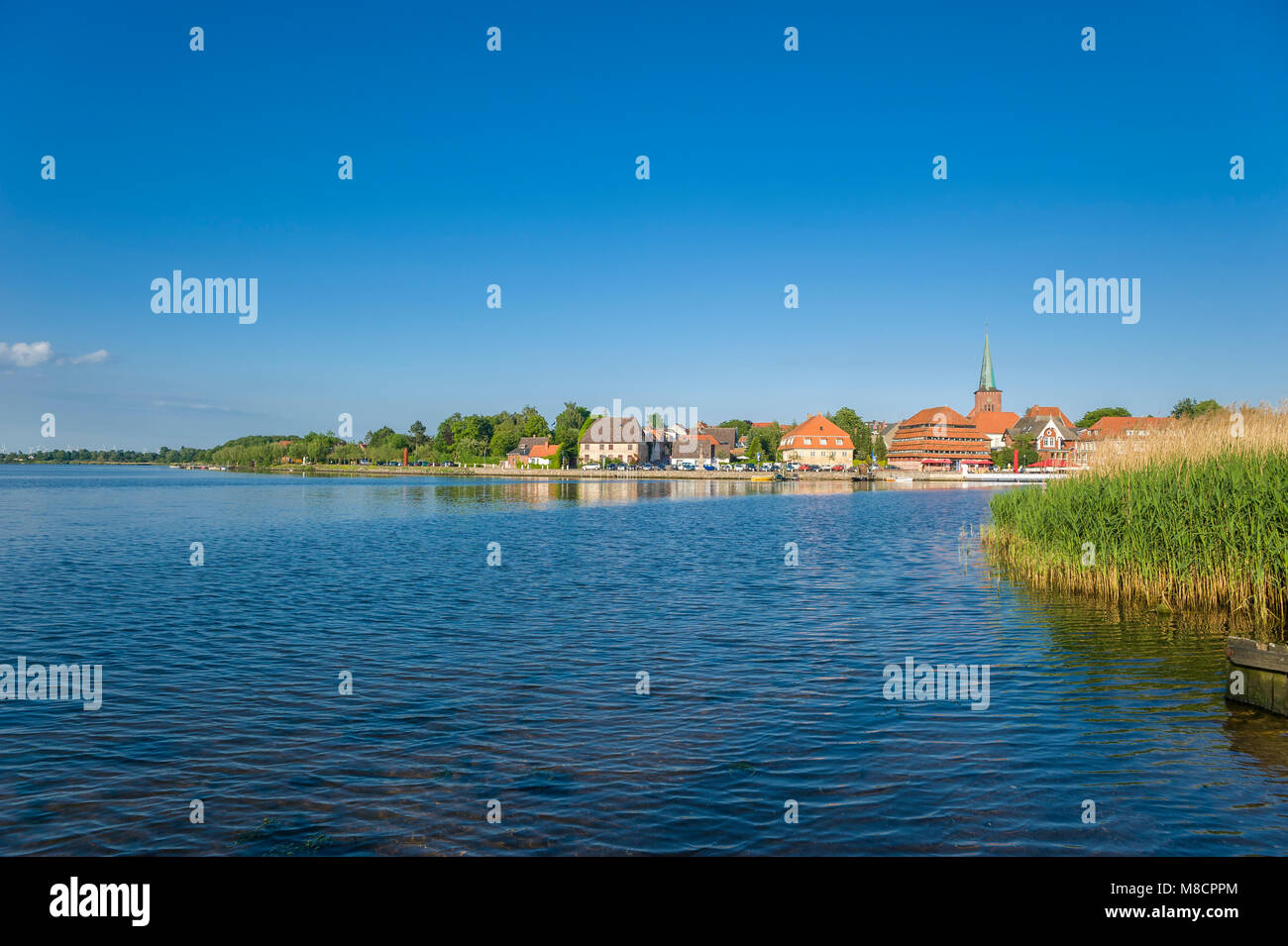Townscape at the Neustaedter inland water, Neustadt in Holstein, Baltic Sea, Schleswig-Holstein, Germany, Europe - Stock Image
