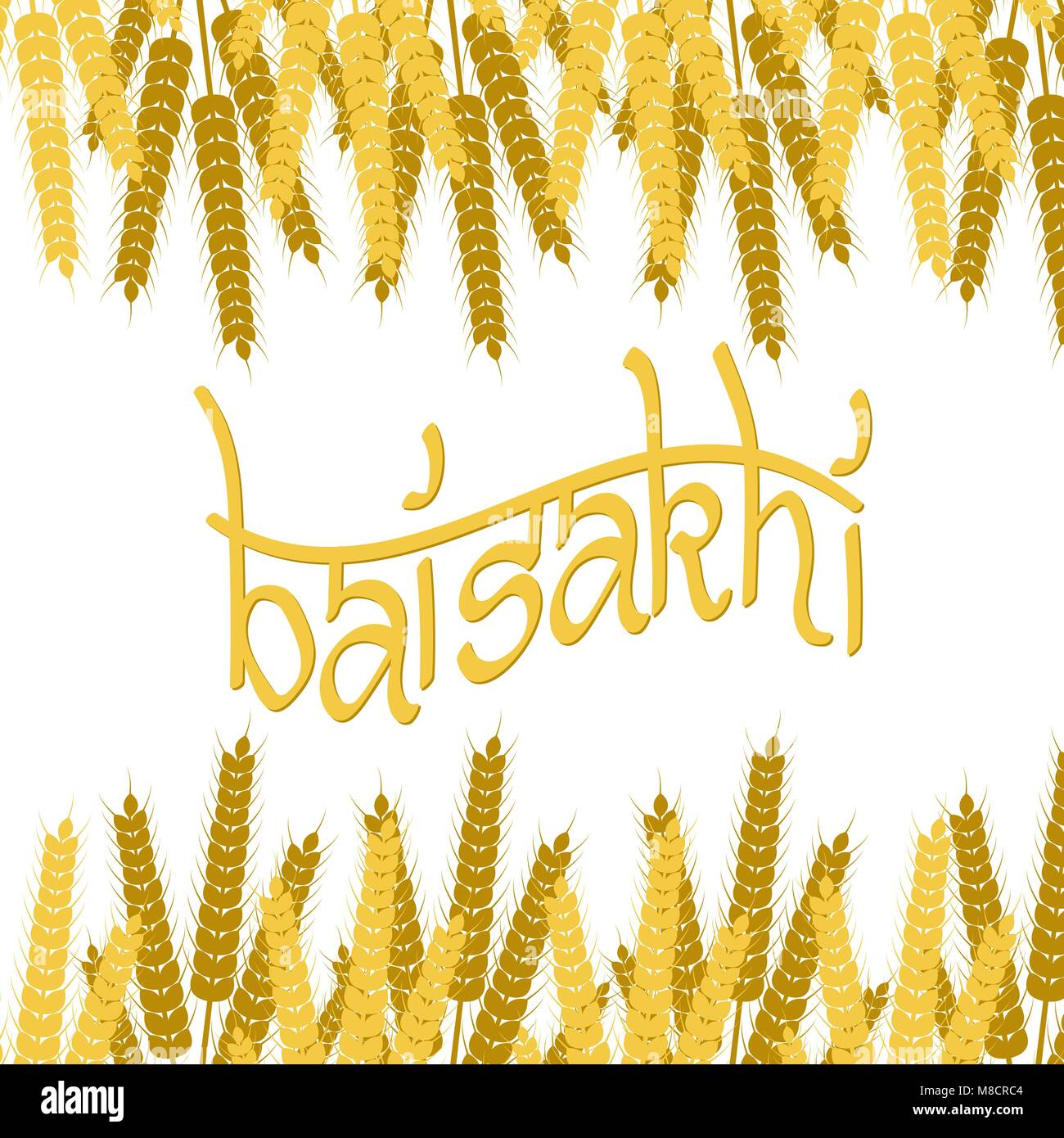 Holiday Baisakhi. New Year of the Sikhs. Bunchs of Wheat. Up and down. Lettering name of the holiday - Stock Vector
