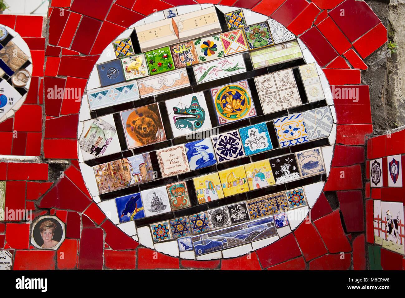 Ceramic tiles at Escadaria Selaron in Rio de Janeiro, Brazil Stock ...