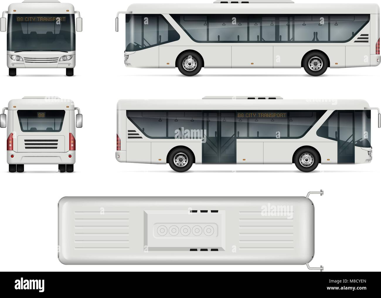Bus Vector Mock Up Isolated Template Of City Bus On White Stock