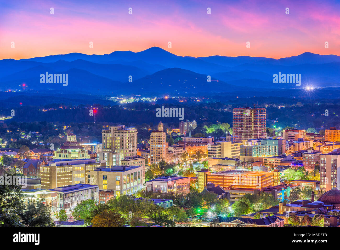 Asheville, North Carolina, USA skyline over downtown with the Blue Ridge Mountains. - Stock Image