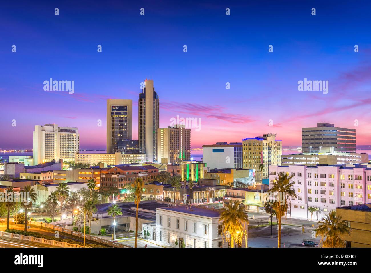 Corpus Christi, Texas, USA Skyline at dusk. - Stock Image