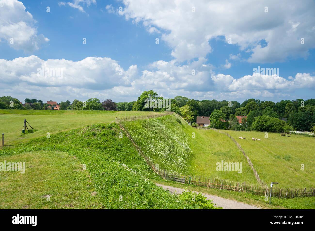 Historical slavic ringwall, Oldenburg in Holstein, Baltic Sea, Schleswig-Holstein, Germany, Europe - Stock Image