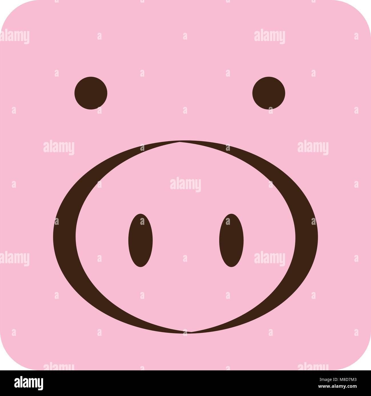 pink square pig animal face expression - Stock Vector