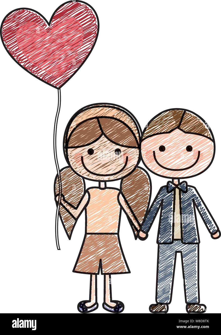 color pencil drawing of caricature of boy short hair and girl with pigtails hair with balloon in shape of heart Stock Vector