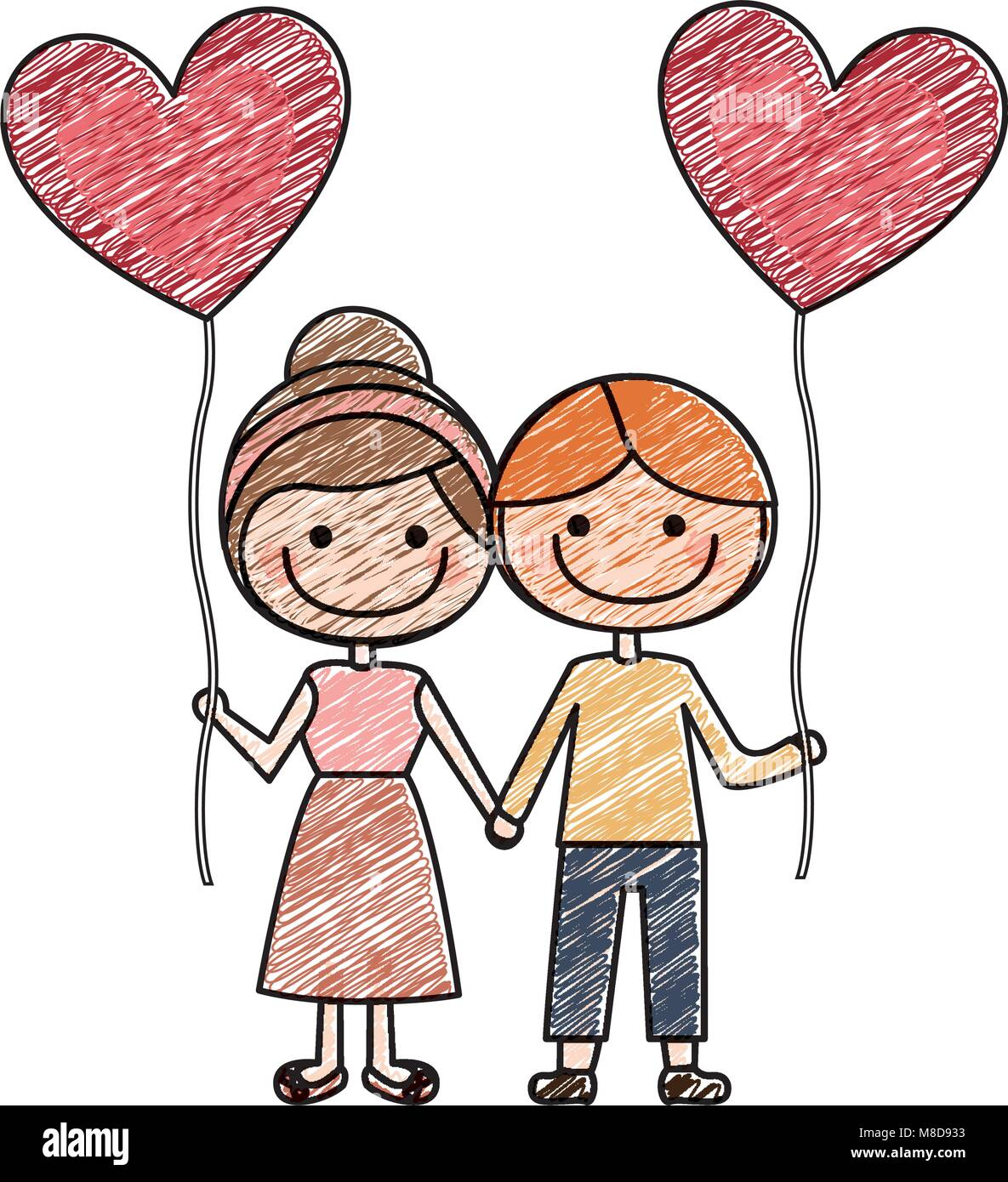 Color pencil drawing of caricature of boy and girl with balloon in shape of heart
