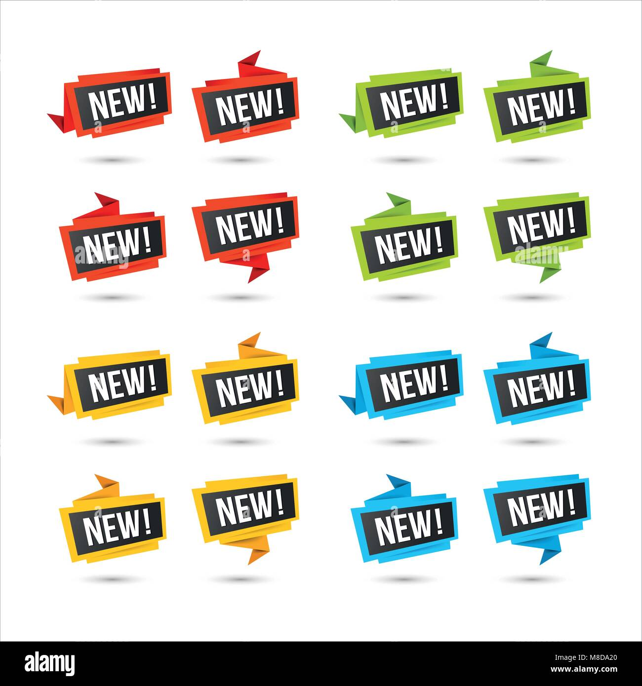 Labels for new arrival, price, or location. Vector web icons, in paper Origami style, isolated on white. - Stock Image