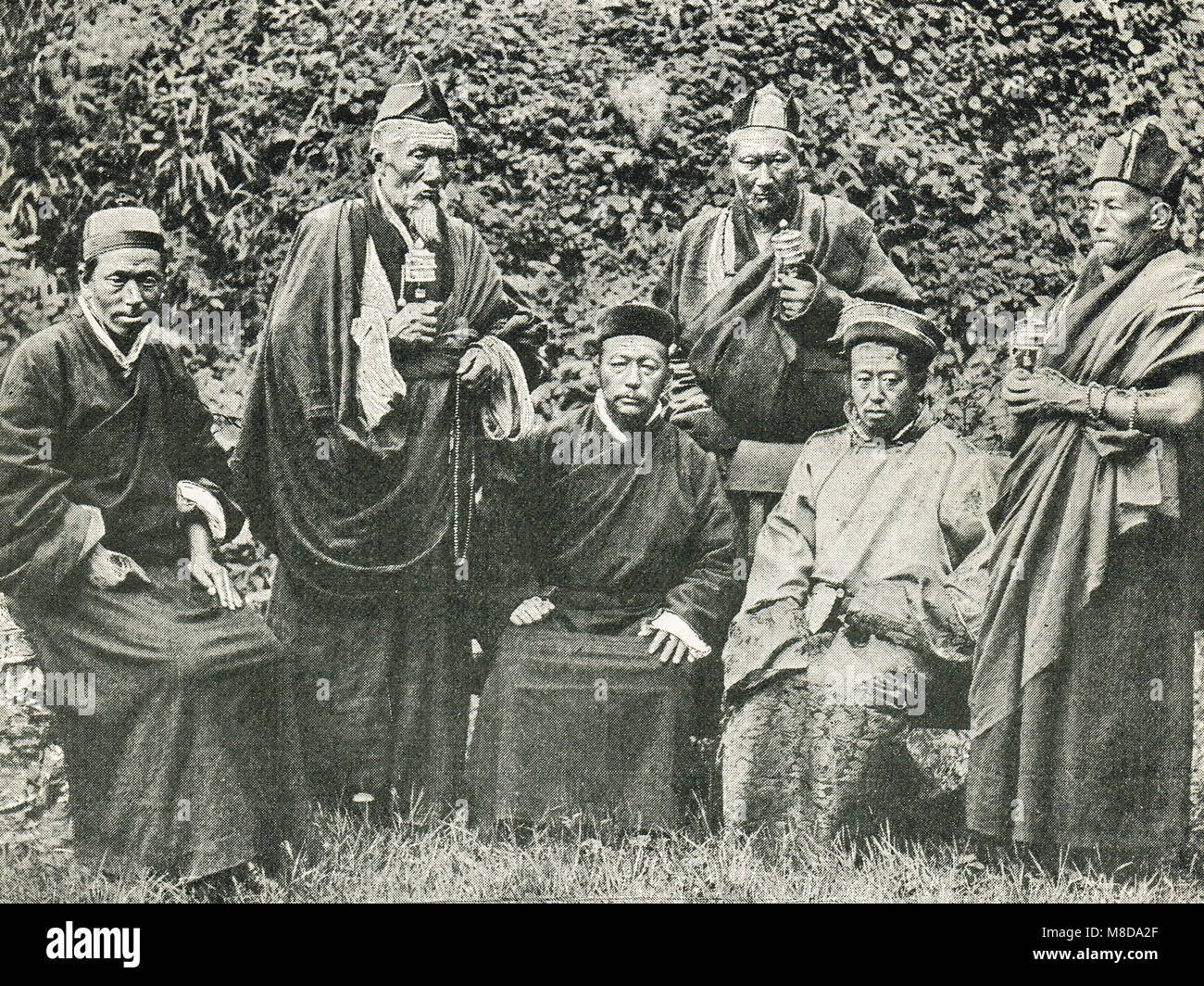 Group of Tibetan Lamas, circa 1904 - Stock Image