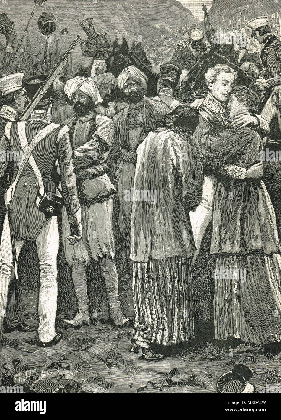 The  rescue of the prisoners taken hostage by Wazir Akbar Khan, 17 September 1842, First Anglo-Afghan War - Stock Image