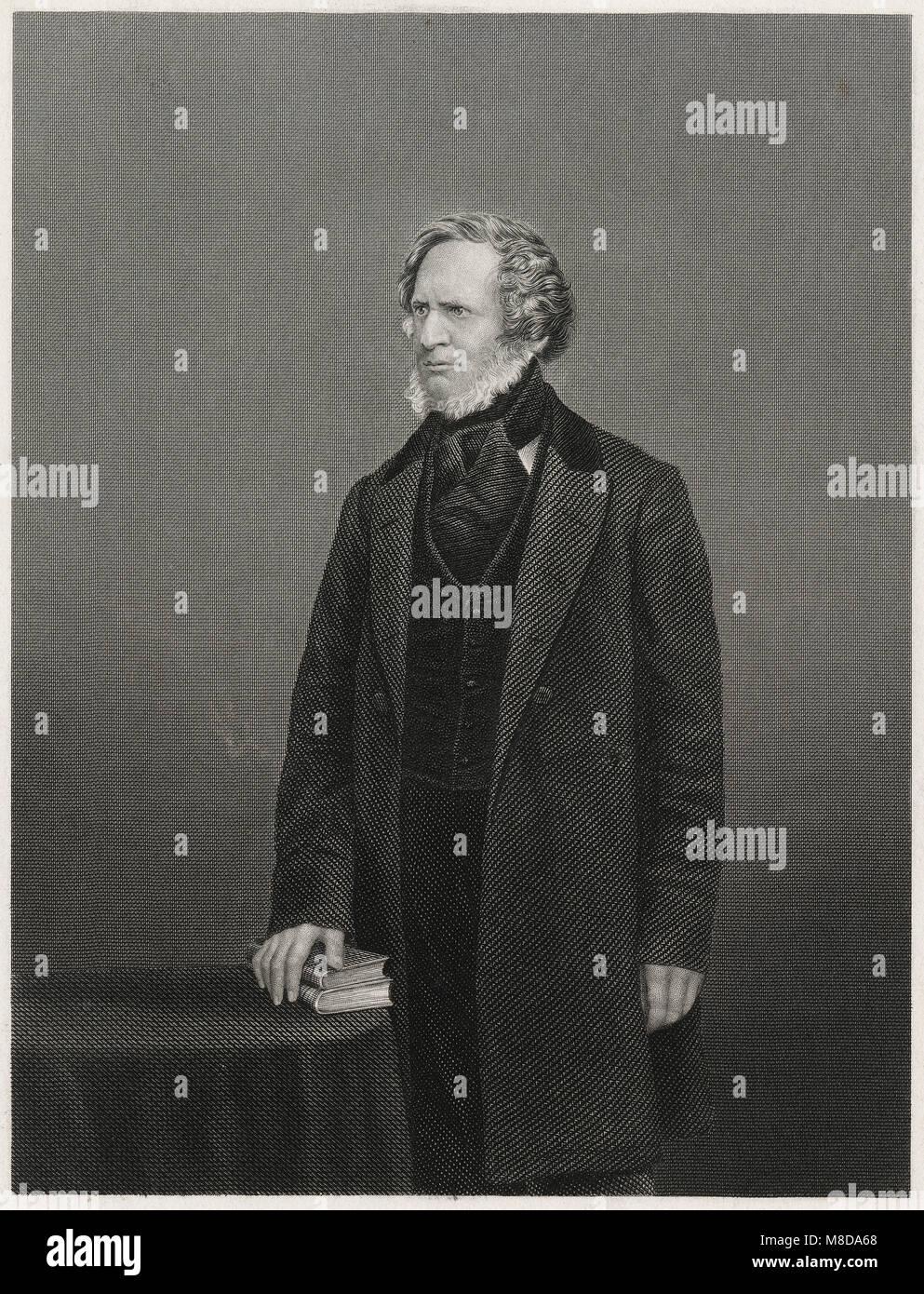 Antique c1860 engraving, Edward Smith-Stanley, 14th Earl of Derby. Edward George Geoffrey Smith-Stanley, 14th Earl - Stock Image