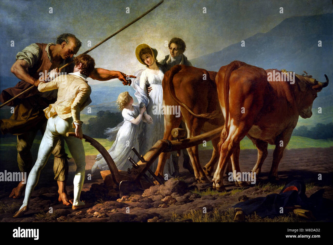 The Ploughing Lesson by Francois Andre Vincent 1746-1816 France, French, - Stock Image