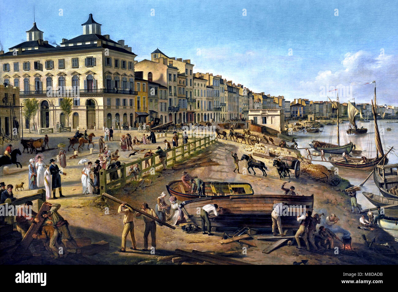 Port and Docks at Bordeaux ,Pierre LACOUR père ,1745 - 1814 ) , 18th century , France, French, - Stock Image