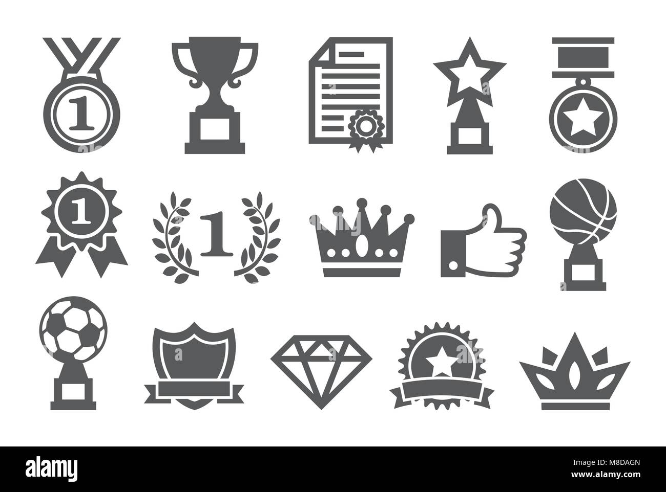Awards icons set - Stock Image