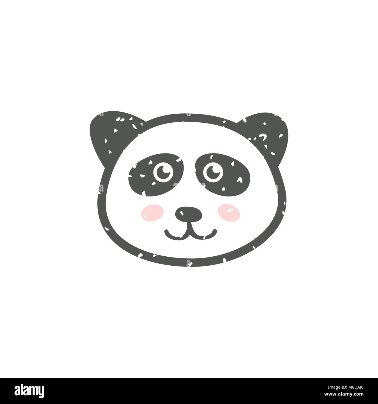 Cute Panda Face - Stock Vector