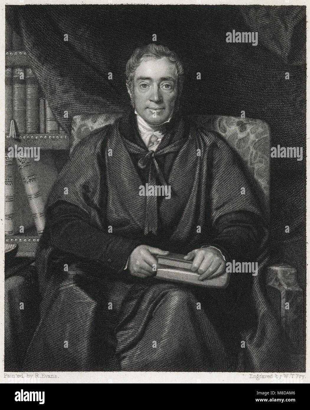 Antique 1833 engraving, Samuel Lee. Samuel Lee (1783-1852) was an English Orientalist, born in Shropshire; professor - Stock Image