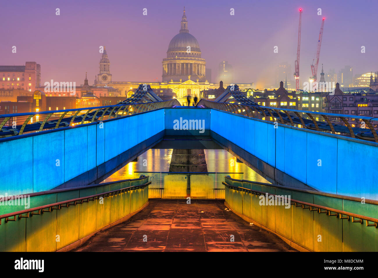 St. Pauls cathedral and Millennium Bridge, London, UK - Stock Image
