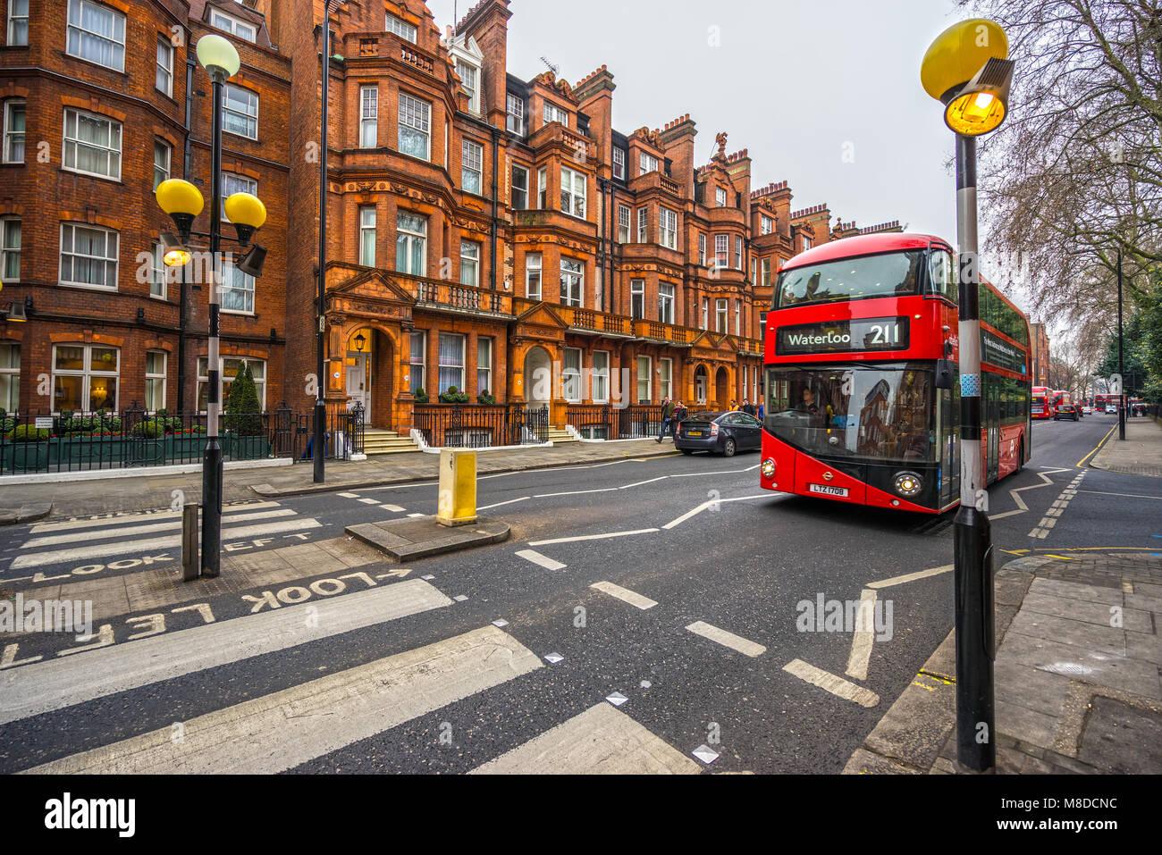 LONDON, UK - JANUARY 26, 2017: Londo, modern double decker bus in Chelsea district. Stock Photo